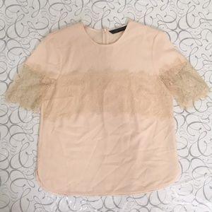 Zara | Lace Trim Blouse Top S